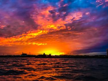 糸満フィッシャリーナ沖で日の出を観にサンライズクルージングしてきました